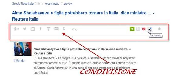 feedly-condivisione
