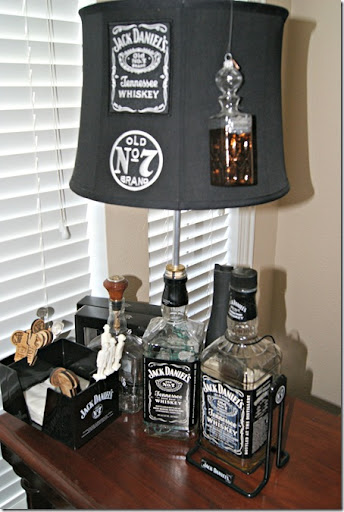 I Am Sorry The Lighting In These Photos ARE NOT GOOD But, I Was In A Bit Of  A Rushu2026Hereu0027s The Lamp He Made Out Of Large Jack Daniels Bottle.