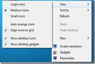 right click on desktop windows 7