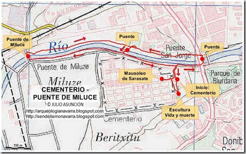 Mapa ruta cementerio de Pamplona - puente Miluce