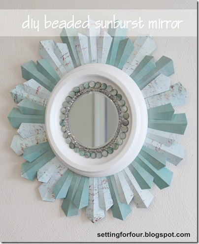 DIY Sunburst Mirror from Setting for Four #mirror #sunburst #duy #tutorial #craft #mod podge