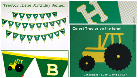 Tractor Theme Birthday Banner Collage