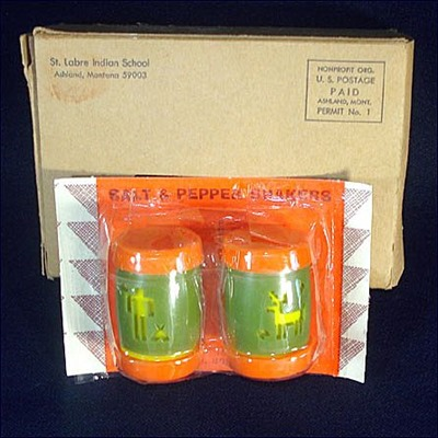 St. Labre Indian School salt and pepper shakers, original packaging and shipping box