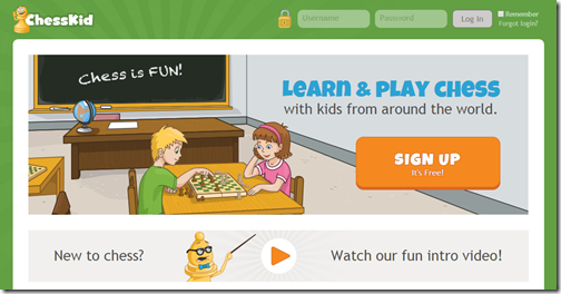 Chesskid.com is a great website for kids can play chess with other kids around the world.