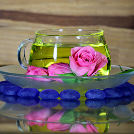 by Dipali S - Artistic Objects Glass ( cup, rose, blue, saucer, artistic, stones )