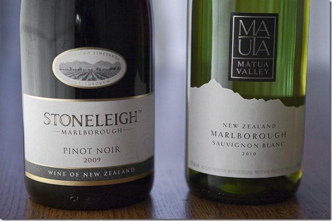 2009 Stoneleigh Marlborough Pinot Noir and 2010 Matua Valley Marlborough Sauvignon Blanc