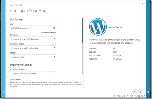 Configuration settings on wordpress blog on windows azure