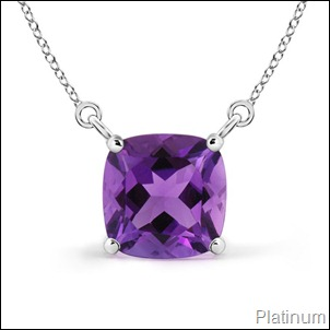Solitaire Cushion Amethyst Pendant