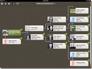 Ancestry app Pedigree View