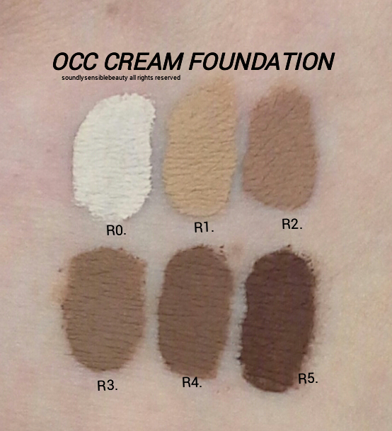 OCC Creme Foundation Swatches of R Shades