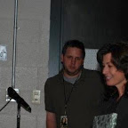 Backstage: Peter Stirba, member of Amy's crew, and Amy Grant
