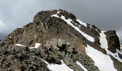 The final stretch to the summit of Deer from the false summit, made more complicated by lingering snow.