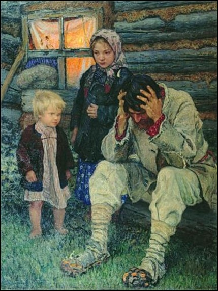 Misery - Nikolay Bogdanov-Belsky, 1919