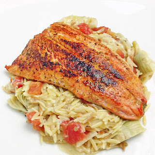 Salmon Over Orzo