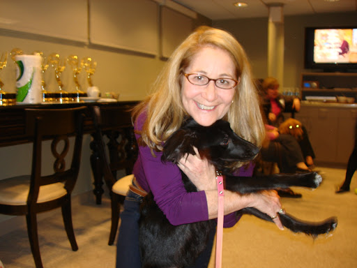 Martha producer Barbara Fight, a true dog lover, gives Kiara some lovin' and briefs her on the upcoming segment. Barb is a great mama to pooch Jessie and kitty Chloe.