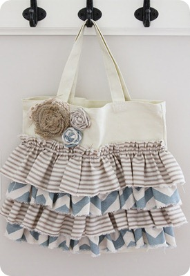 Ruffled Canvas Tote