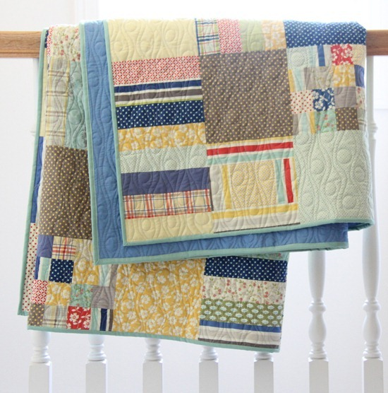 Folded Strips and Squares Quilt by Cluck Cluck Sew
