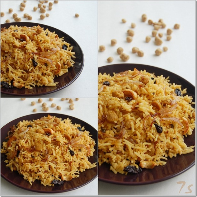 Soya chunk dum biryani collage