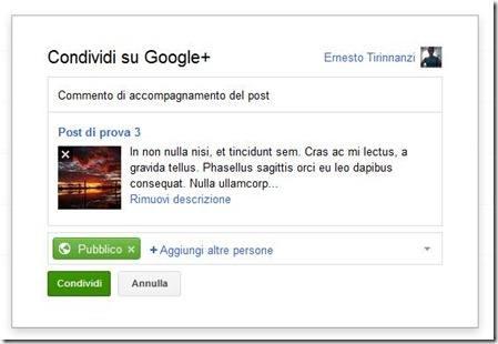 condividere su Google Plus