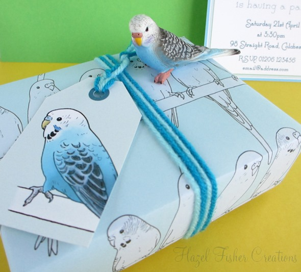 2013April10 Budgie printable gift wrap and tag