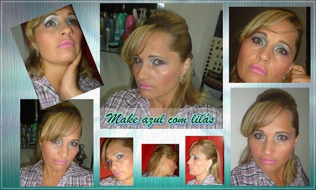 maquiagem azul com lilás