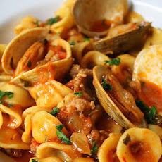 "Orecchiette ""Paella"" with Sausage and Clams"