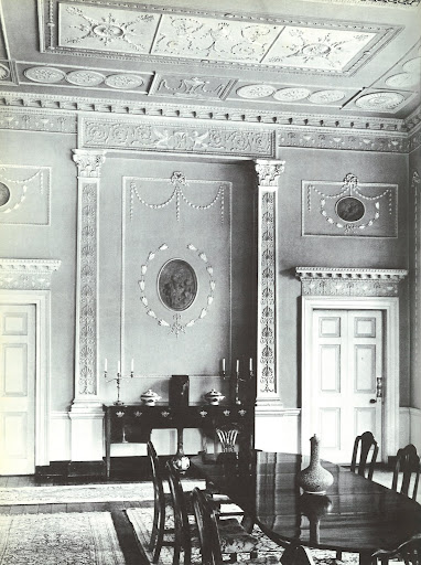 The grand character of this dining room at Mount Kennedy is due to the beautiful plasterwork by Michael Stapleton and grisaille roundels by de Gree.