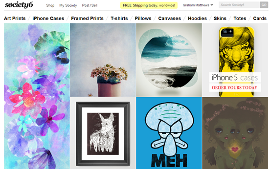 Society6 selling art on t shirts ipod cases and more for Websites similar to society6