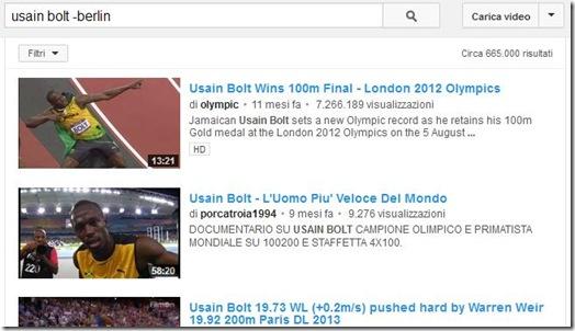 Cercare video su YouTube escludendo parole chiave dai risultati