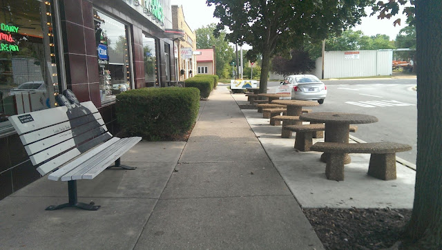seats outside the Union Dairy