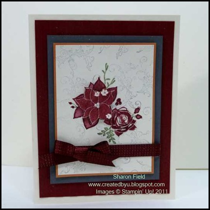 CS47C, Creative-Sketches, Pines_and_poinsettias, holiday_mini_Catalog, Champagne_Shimmer_paint, Shimmer_Mist, pearls, dimensionals, stamp-off, createdbyu_blogspot, Sharon_Field, Challenge, Design_team, quilted_Satin_ribbon