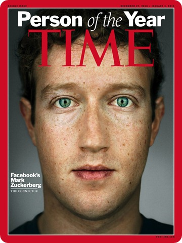 "In this image released by Time Magazine, Wednesday, Dec. 15, 2010, is the cover for Time's 2010 ""Person of the Year,"" Facebook founder and CEO Mark Zuckerberg. (AP Photo/Time Magazine)"