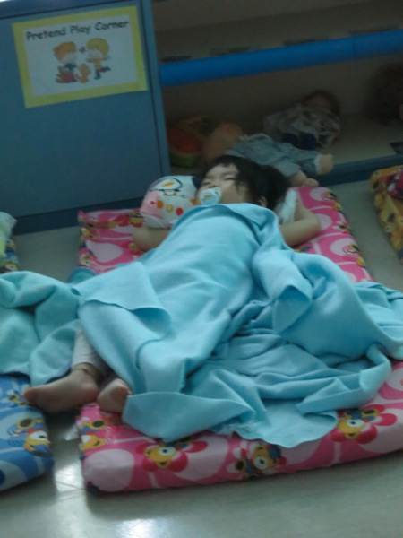 Yining Sleeping With Her Fellow Toddlers
