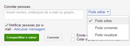 Configurações de compartilhamento - Google Drive 2