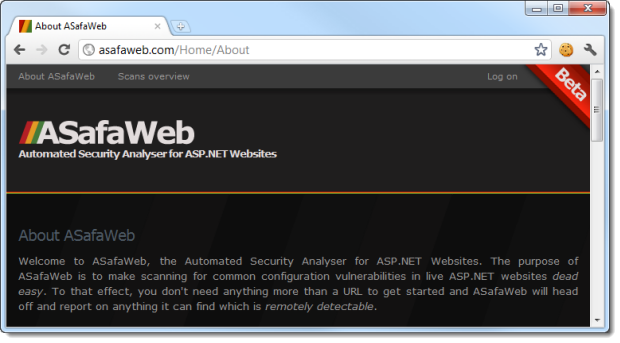 Accessing the ASafaWeb website on the PC whilst not authenticated