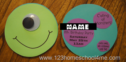 monsters inc party ideas invitation
