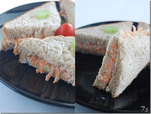 Carrot celery sandwich collage