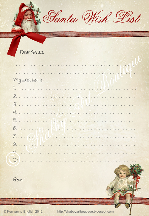 Shabby Art Boutique Santa Wish List