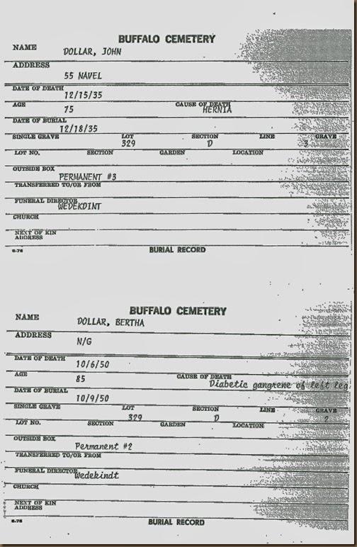 DOLLER_John & Bertha_burial cards from cemetery in BuffaloNY_enhanced