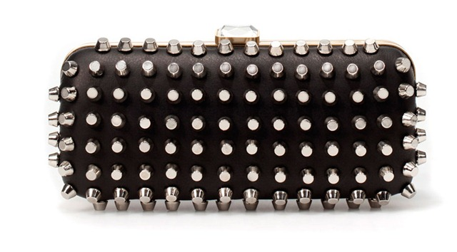 Zara Clutch, Zara Studded, Zara Bag, Zara Box Clutch