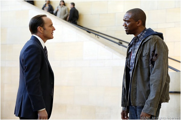 Coulson (Clark Gregg) tries to contain Mike Peterson (J August Richards).