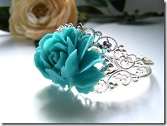 Teal Floral Bracelet