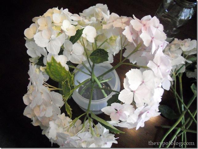 hydrangea, flower, white, arrangement