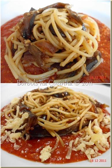 Espaguete com berinjela assada