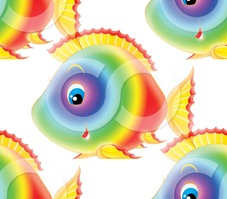 32272-Clipart-Illustration-Of-A-Cute-Rainbow-Colored-Fish-With-Blue-Eyes-Smiling-At-The-Viewer