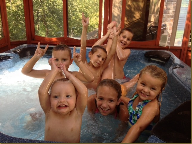 Kids in hot tub 2
