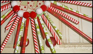 pixie stick wreath-up close
