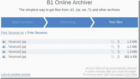 B1 Archiver Online file contenuti in archivio