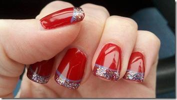 nail-art-craciun-rosu cu glitter