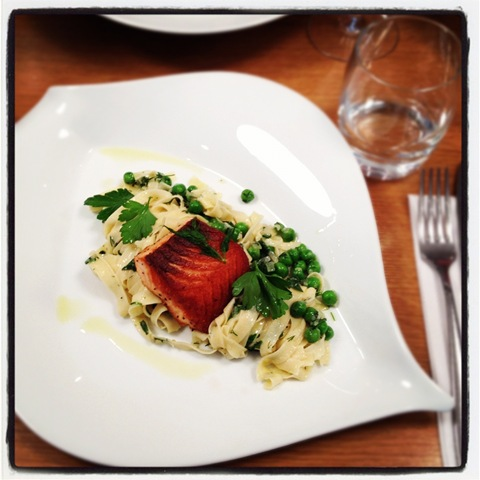 Pan-fried salmon and pes tagliatelle at L'Atalier des Chefs